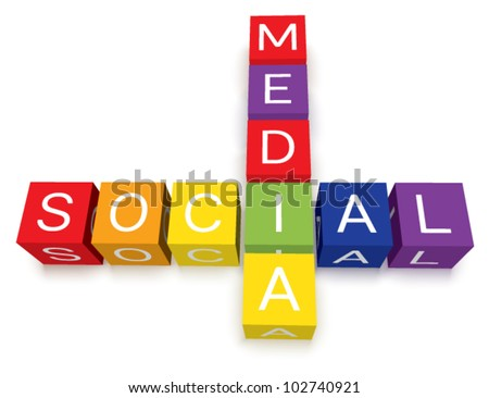Vector colorful social media crossword puzzle blocks. Isolated with soft transparent ground shadows. - stock vector