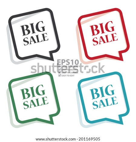 Vector : Colorful Speech Bubble Big Sale Icon, Sticker or Label Isolated on White Background - stock vector