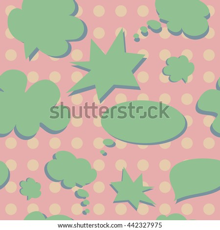 Vector Colorful Speech Bubbles Pattern. Colored Stickers Seamless Background - stock vector