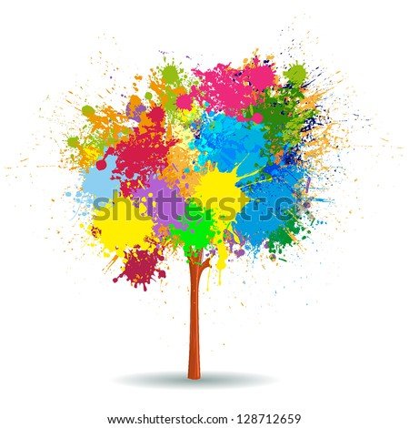 Vector colorful splashes tree - stock vector