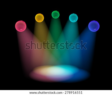 Vector colorful spotlight projecting on empty stage - stock vector