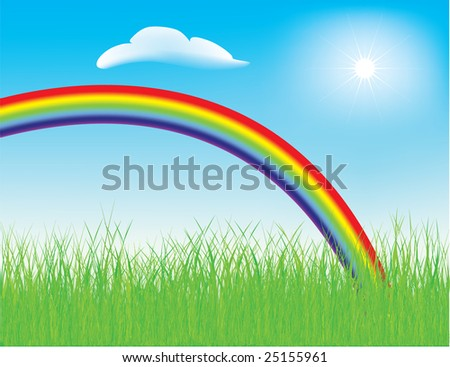 Vector - colorful spring rainbow in a meadow with fresh green grass