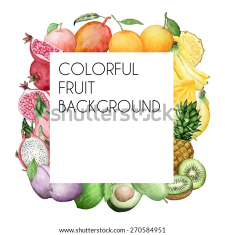 Vector colorful square background with watercolor fruits. Background for packaging, cards and posters.  - stock vector