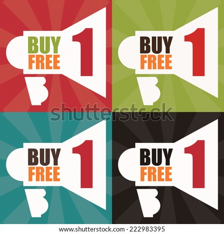 Vector : Colorful Square Buy1 Free1 With Megaphone Sign Label, Icon, Sticker, Brochure, Leaflet or Poster - stock vector