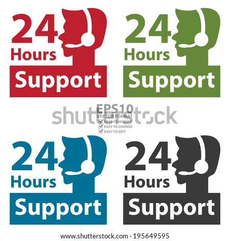 Vector : Colorful Square 24 Hours Support Label With Call Center Agent Sign Isolated on White Background  - stock vector