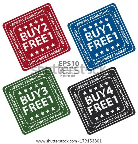Vector : Colorful Square Rubber Grungy Style Special Promotion Buy 1 Free 1, Buy 2 Free 1, Buy 3 Free 1 and Buy 4 Free 1 Icon, Label or Sticker Isolated on White Background  - stock vector
