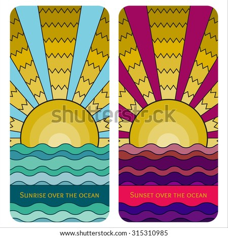 Vector colorful stained-glass window style illustration of sunrise over the ocean. Stylized mosaic background sunset over the sea. Sunrise over the waves banner template for your design. Cover design. - stock vector
