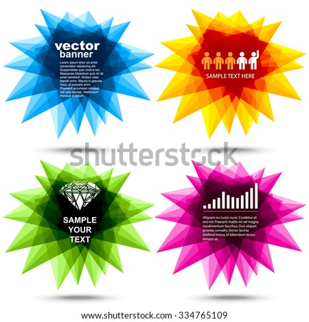 Vector - colorful stellating polygons banners - stock vector