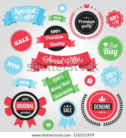 Vector Colorful Stickers Labels and Badges Set - stock vector