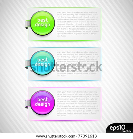 Vector colorful stickers with paper card