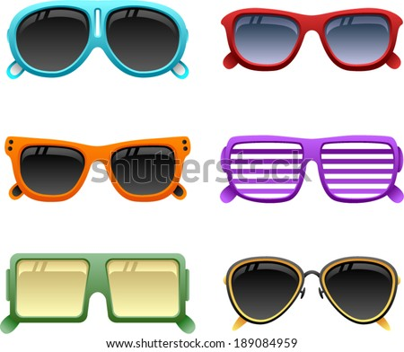 vector colorful sunglasses set 1 - Separate layers for easy editing - stock vector