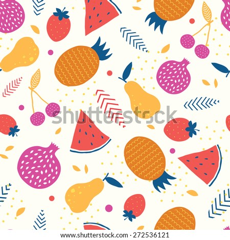 Vector colorful tasty fruit seamless pattern background - stock vector
