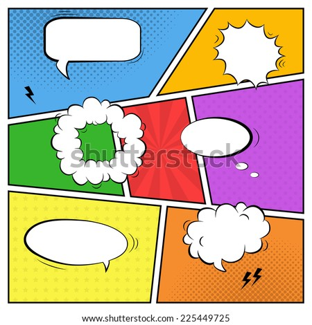 Vector colorful template of comic book page with various speech bubbles, rays, stars, dots, halftone background - stock vector