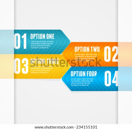 Vector colorful text boxes, infographics options banner 1 2 3 4 concept - stock vector