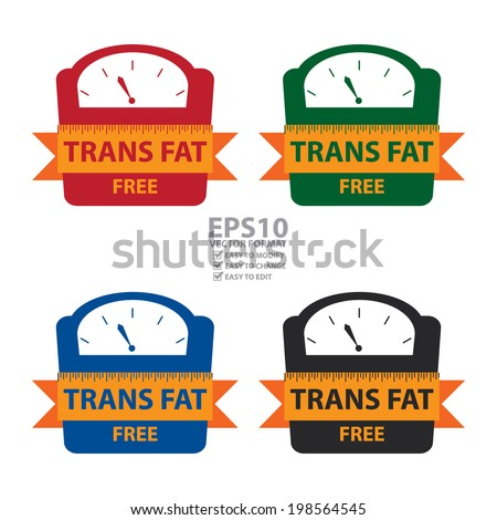 Vector : Colorful Trans Fat Free Bathroom Weight Scale Icon, Sign or Label Isolated on White Background - stock vector