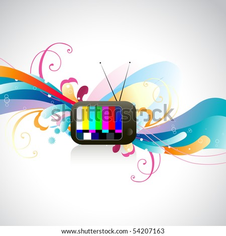 vector colorful TV illustration with colorful floral