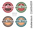 Vector : Colorful Vintage Big Sale This Month Only Icon, Badge, Sticker or Label Isolated on White Background  - stock vector
