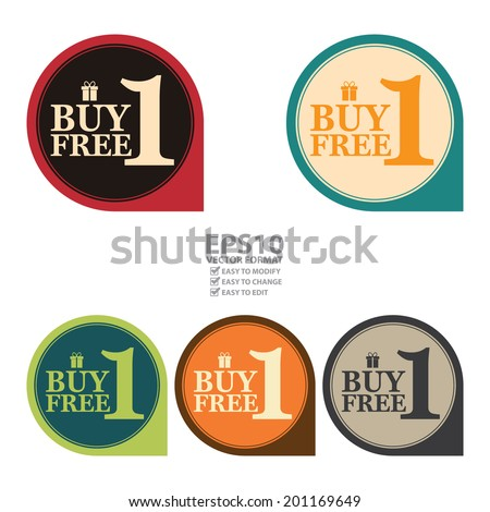Vector : Colorful Vintage or Retro Style Speech Bubble Buy 1 Free 1 Icon, Sticker or Label Isolated on White Background - stock vector