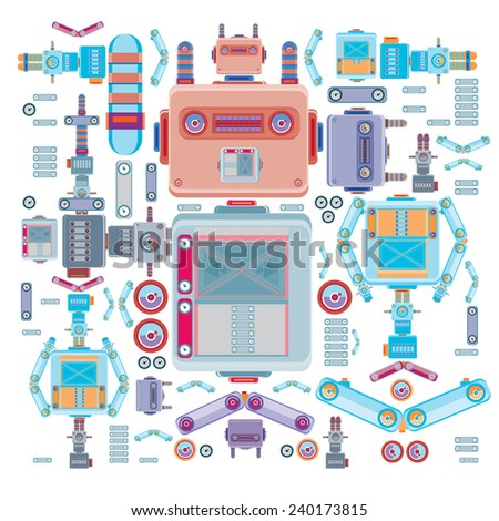 vector colorful vintage robot - stock vector