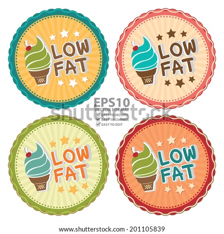 Vector : Colorful Vintage Style Low Fat Ice Cream Icon, Label or Sticker Isolated on White Background - stock vector