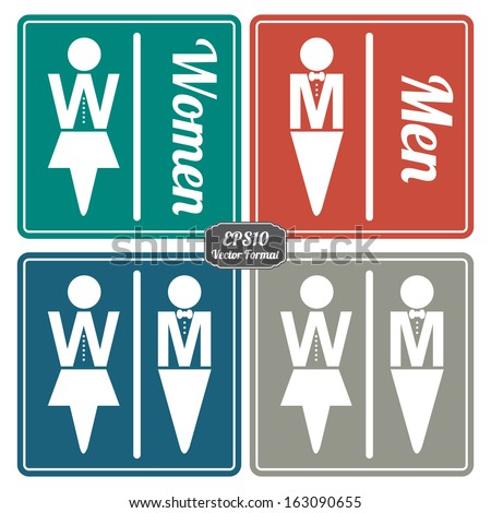 Vector Colorful Vintage Style Men, Women and Unisex Toilet, Restroom, Fitting Room or Dressing Room Label  Isolated on White Background - stock vector