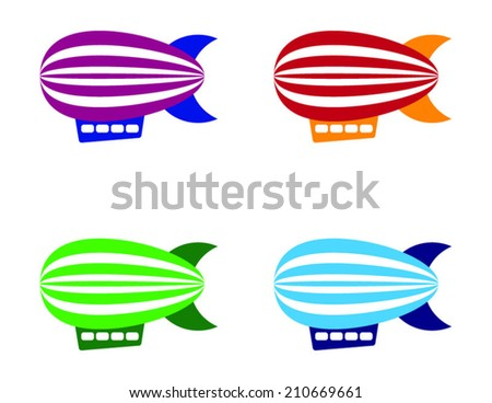Vector colorful vintage zeppelins - stock vector