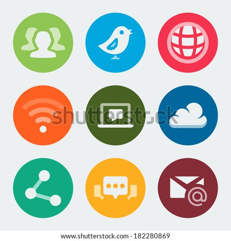 Vector colorful web and social icons set - stock vector
