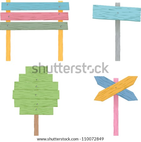 vector colorful wooden signs set 2 - stock vector
