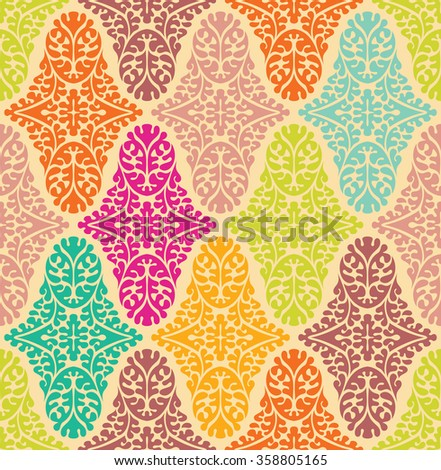 Vector colorfull seamless damask pattern. Ornate vintage background - stock vector