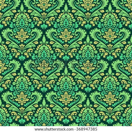 Vector Colorfull Seamless Damask Pattern. Ornate vintage background