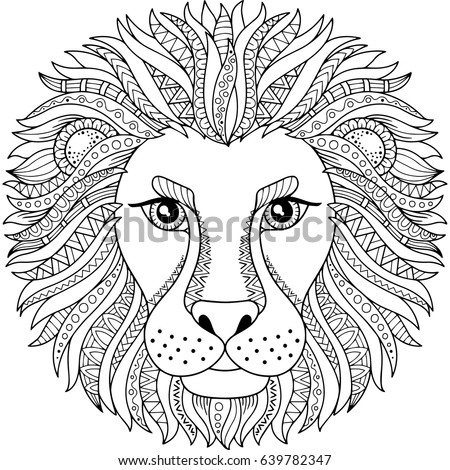 Vector Coloring Book Adult Silhouette Lion Stock Vector (Royalty ...