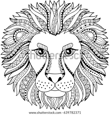 Vector Coloring Book Adult Silhouette Lion Stock Vector 639782371 ...