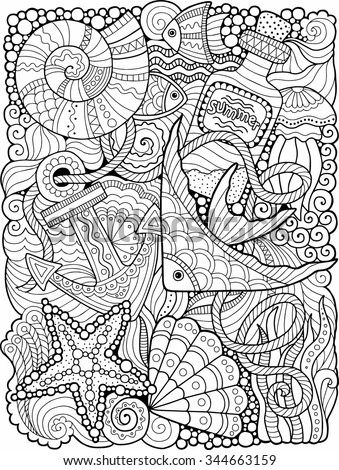 Vector. coloring book for adult. Summers sea - stock vector