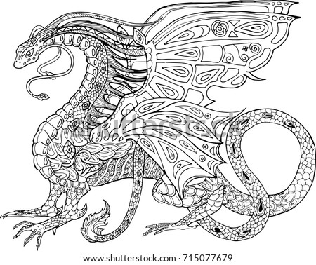 Vector Coloring Book For Adults Dragon