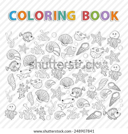 Vector coloring book.Marine life. Hand drawn Icon set with various sea inhabitants, seaweed,sword fish,fish urchin, octopus, jellyfish,coral,shells, barnacles,algae in doddle style