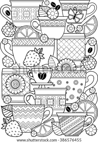 Vector coloring page. Coloring book for adult. Cups of herbal tea and coffee.Flowers and fruits.