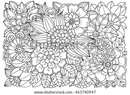 vector coloring page of floral pattern doodle flowers for adult anti stress book - Coloring Page Nature