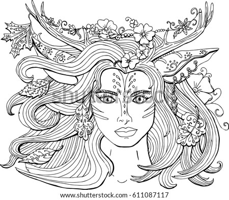 vector coloring pages for adults ornament beautiful fantasy girl deer with antlers the spirit of - Fantasy Coloring Pages Adults