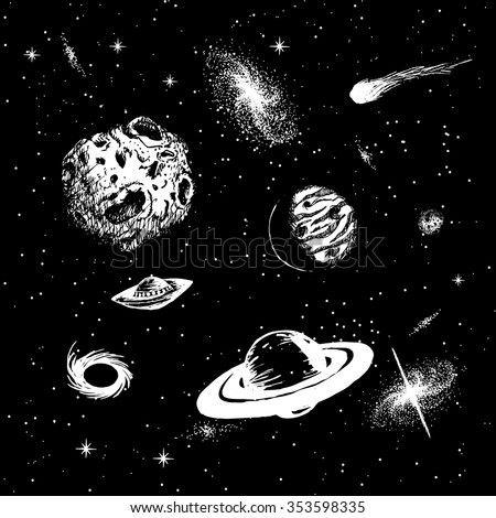 Vector colorless illustration of universe with ufo,galaxy,asteroids,planets,black hole,quasar,comet. Hand drawn style .Set of galactic objects - stock vector