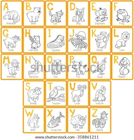 Vector colorless zoo alphabet with cute animals - stock vector
