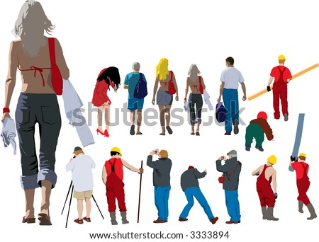 Vector colour illustration of people from back