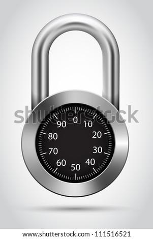Vector combination padlock - stock vector
