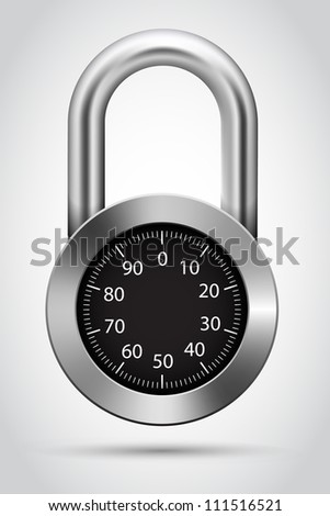 Vector combination padlock, Combination lock object.