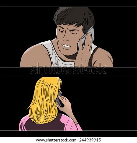 Vector comic book style couple talking on phone - stock vector
