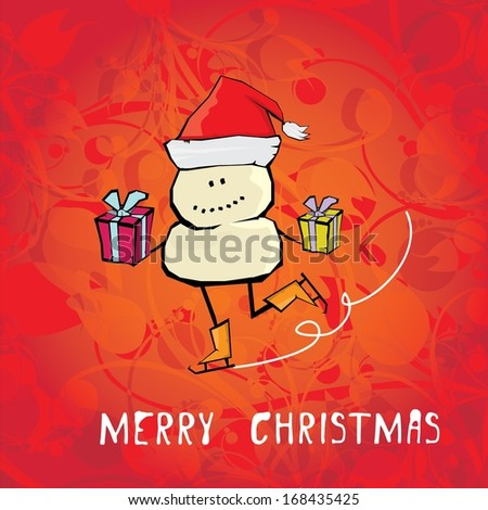 Vector comic cartoon merry christmas illustration with snowman. vector merry christmas and happy new year vintage red floral background for greeting card or banner design - stock vector