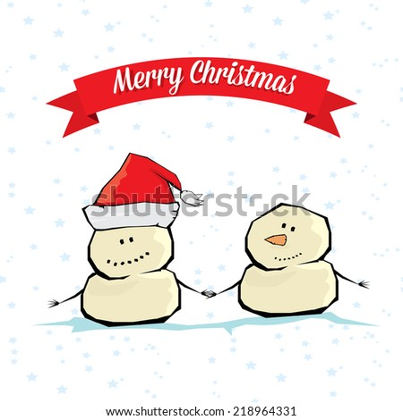 Vector comic cartoon merry christmas illustration with snowman. vector merry christmas and happy new year background for greeting card or banner design - stock vector