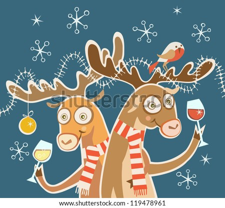 Vector comic christmas card. Couple of cheerful reindeer with glasses of wine, bird, festive decoration. Concept of cheery party. Holiday illustration in cartoon style with fairy tale funny personages - stock vector