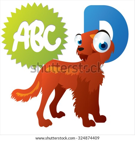 Vector comic cute animals ABC: D is for Dog - stock vector