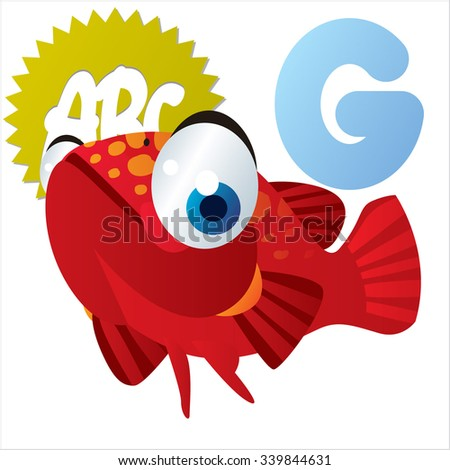 Vector comic funny cartoon animals alphabet: G is for Grouper - stock vector