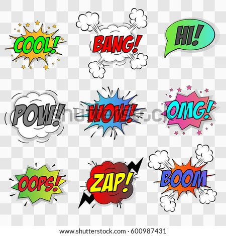 Vector comic speach bubble with phrase boom wow zap hi bang